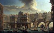 Nicolas Jean-Baptiste Raguenet, La joute des mariniers, entre le pont Notre-dame et le pont au Change (1715-1793)