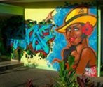 KREATIVCONCEPT, Second Round, 2008 Graffiti de 3 x 8 m sur le mur de la  Maison des Jeunes de Arue, Tahiti
