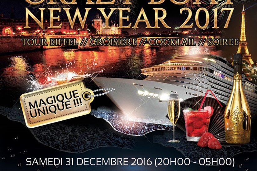 Réveillon 2017 à Paris : Crazy Boat Tour Eiffel Croisière VIP New Year 2017 au River's King