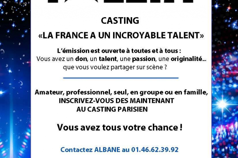 Casting pour La France a un incroyable talent
