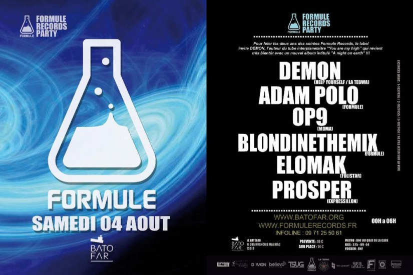 FORMULE RECORDS PARTY avec DEMON / ADAM POLO / OP9 / BLONDINETHEMIX / ELOMAK / PROSPER !