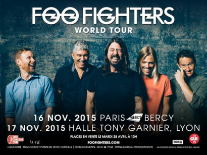 Foo Fighters en concert à Paris Bercy Arena en novembre 2015