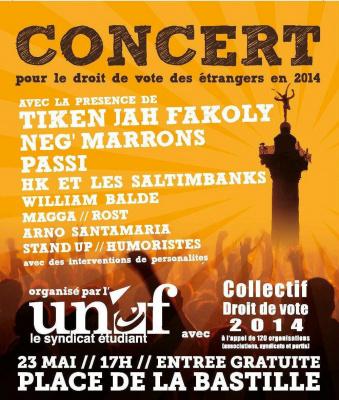 Concert pour le droit de vote des étrangers en 2014