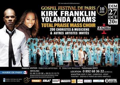 Gospel Festival de Paris 2013 avec Kirk Franklin, Yolanda Adams et Total Praise