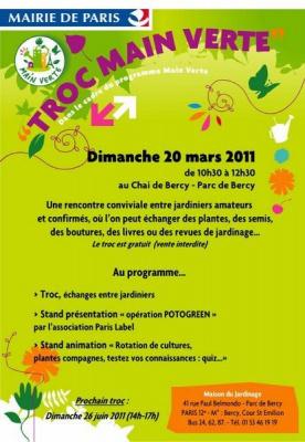 troc main verte 2011, chai de bercy, parc de bercy, jardinier, maison du jardinage