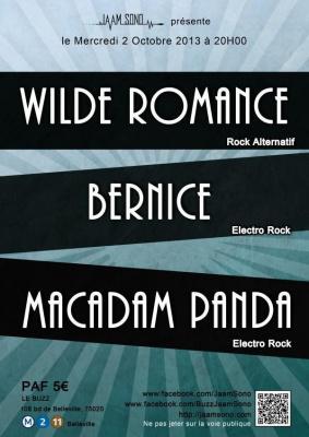 Concert Pop Rock : Bernice + Macaddam Panda + Wilde Romance