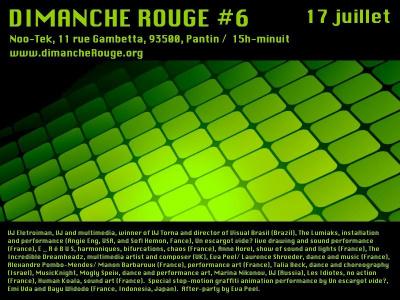 Noo-Tek, Dimanche Rouge, Art, Performances expérimentales, Danse, Musique, Stop-motion graffiti