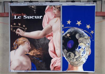 HAINS Raymons, /D'Eustache à Natacha/, diptyque, textile laine, tapisserie de Beauvais, 2,250 m x 2,800 m, 2000-2010,