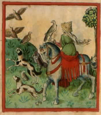 Femme à cheval à la chasse,