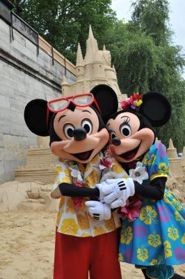 Le Château de sable Disney à Paris Plages, château de la belle au bois dormant, inauguration