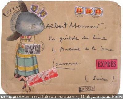 Enveloppe-collage de Jacques Prévert