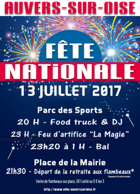Feu d'artifice du 14 juillet 2017 à Auvers-sur-Oise