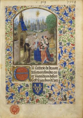 Miniatures Flamandes, exposition BNF Pierre d'Ailly, Jardin de vertueuse consolation : la sainte Âme reçue par Obédience et les quatre vertus cardinales. Enlumineur : Maître de Marguerite d'York, vers 1470-1480. BnF, dpt des Manuscrits