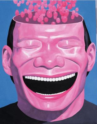 exposition Yue Minjun Fondation Cartier | Yue Minjun, Memory-2, 2000. Huile sur toile. Collection de l'artiste, Pékin.   © Yue Minjun