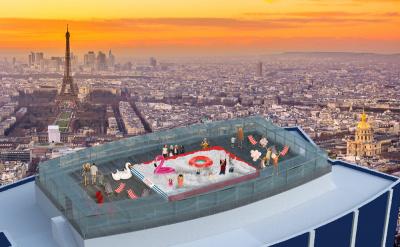 A giant ball pool atop the montparnasse tower in paris for Piscine montparnasse
