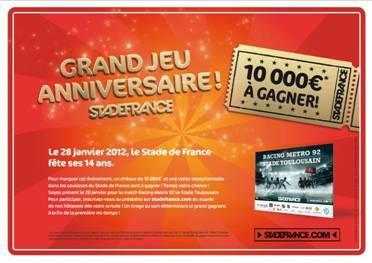 10000e à gagner satade de france, racing metro 92, stade toulousain