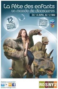 un monde de dinosaures, rosny 2, dinosaures à rosny 2