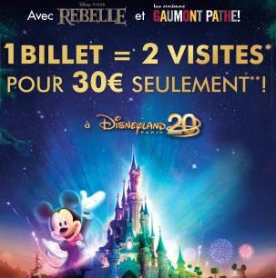 Rebelle au cinéma = 2 visites pour 30€ chez Disney