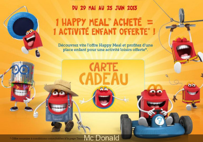 carte cadeau happy meal 2013