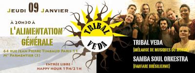 TRIBAL VEDA (mélange de musiques du monde) et SAMBA SOUL ORKESTRA (fanfare brésilienne)