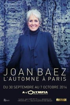 Joan Baez à l'Olympia de Paris pour une série de concerts à l'automne 2014