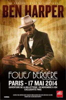 Ben Harper en concert aux Folies Bergère de Paris en 2014