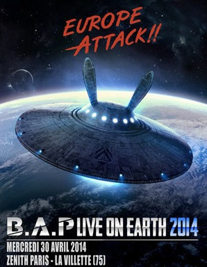 "B.A.P en concert au Zénith de Paris en avril 2014 pour la tournée ""Live on Earth"""