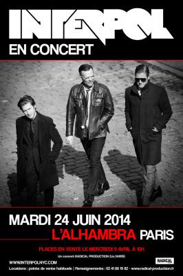 Interpol en concert à l'Alhambra de Paris en juin 2014
