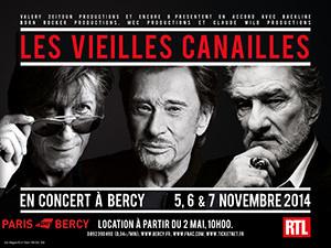 Les Vieilles Canailles : Johnny Hallyday, Jacques Dutronc et Eddy Mitchell, en concerts à Paris Bercy en novembre 2014