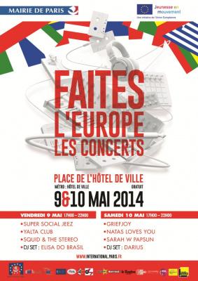 Faites l'Europe 2014 sur le Parvis de l'Hôtel de Ville : les concerts gratuits