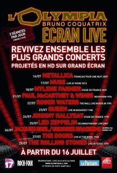 Olympia Écran live : retransmission de concerts de légende sur grand écran