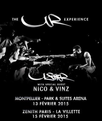 Usher en concert au Zénith de Paris en février 2015