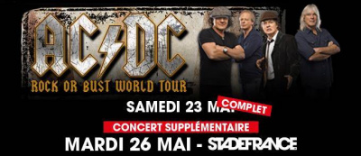 AC/DC en concerts au Stade de France en mai 2015 : date supplémentaire le 26 mai