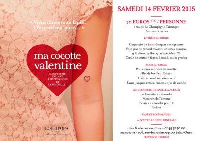 Saint Valentin 2015 au restaurant Ma Cocotte