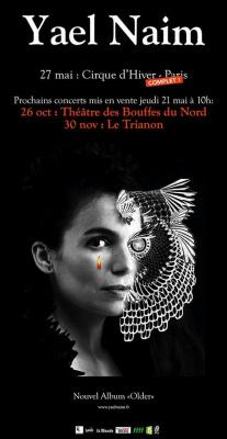 Yael Naim en concerts au Théâtre des Bouffes du Nord et au Trianon de Paris