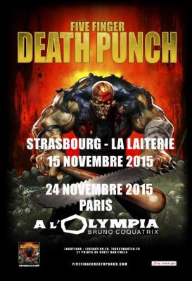 Five Finger Death Punch en concert à l'Olympia de Paris en novembre 2015