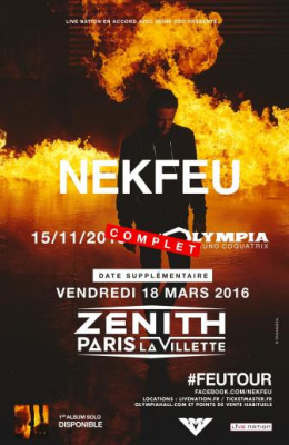 Nekfeu en concert au Zénith de Paris en 2016