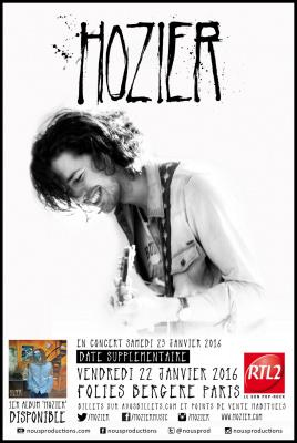 Hozier en concerts aux Folies Bergère de Paris en 2016