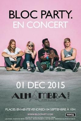 Bloc Party en concert à l'Alhambra de Paris en décembre 2015