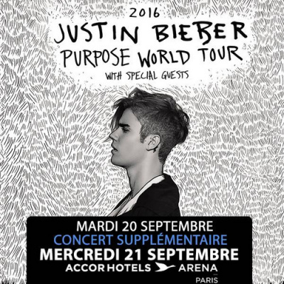 Justin Bieber en concerts à Bercy Paris en 2016