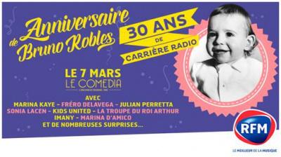 Bruno Roblès fête ses 30 ans de carrière radio au Comédia de Paris