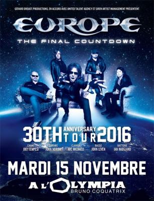 Europe en concert à l'Olympia de Paris en novembre 2016