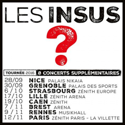 Les Insus : concert supplémentaire au Zénith de Paris en novembre 2016