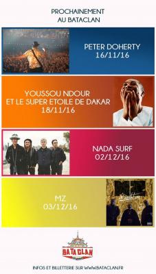 Le Bataclan annonce une série de concerts avec Pete Doherty, Youssou N'Dour...