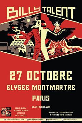 Billy Talent en concert à l'Elysée Montmartre de Paris en octobre 2016
