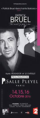Patrick Bruel en concerts à La Salle Pleyel de Paris en octobre 2016