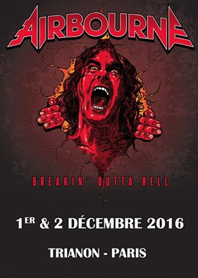 Airbourne en concerts au Trianon de Paris en décembre 2016