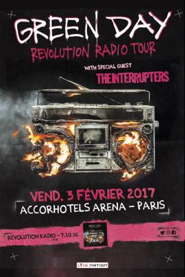 Green Day en concert à l'Arena Bercy de Paris en février 2017