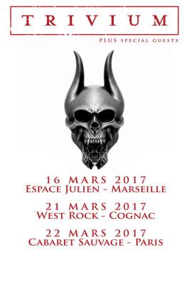Trivium en concert au Cabaret Sauvage de Paris en mars 2017
