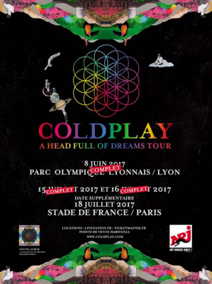 coldplay en concerts au stade de france en juillet 2017. Black Bedroom Furniture Sets. Home Design Ideas